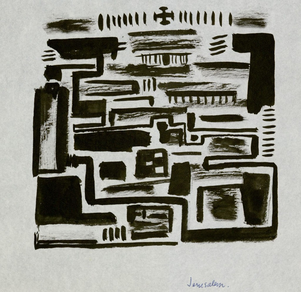 Ink on paper drawing titled Jerusalem by Thomas Merton
