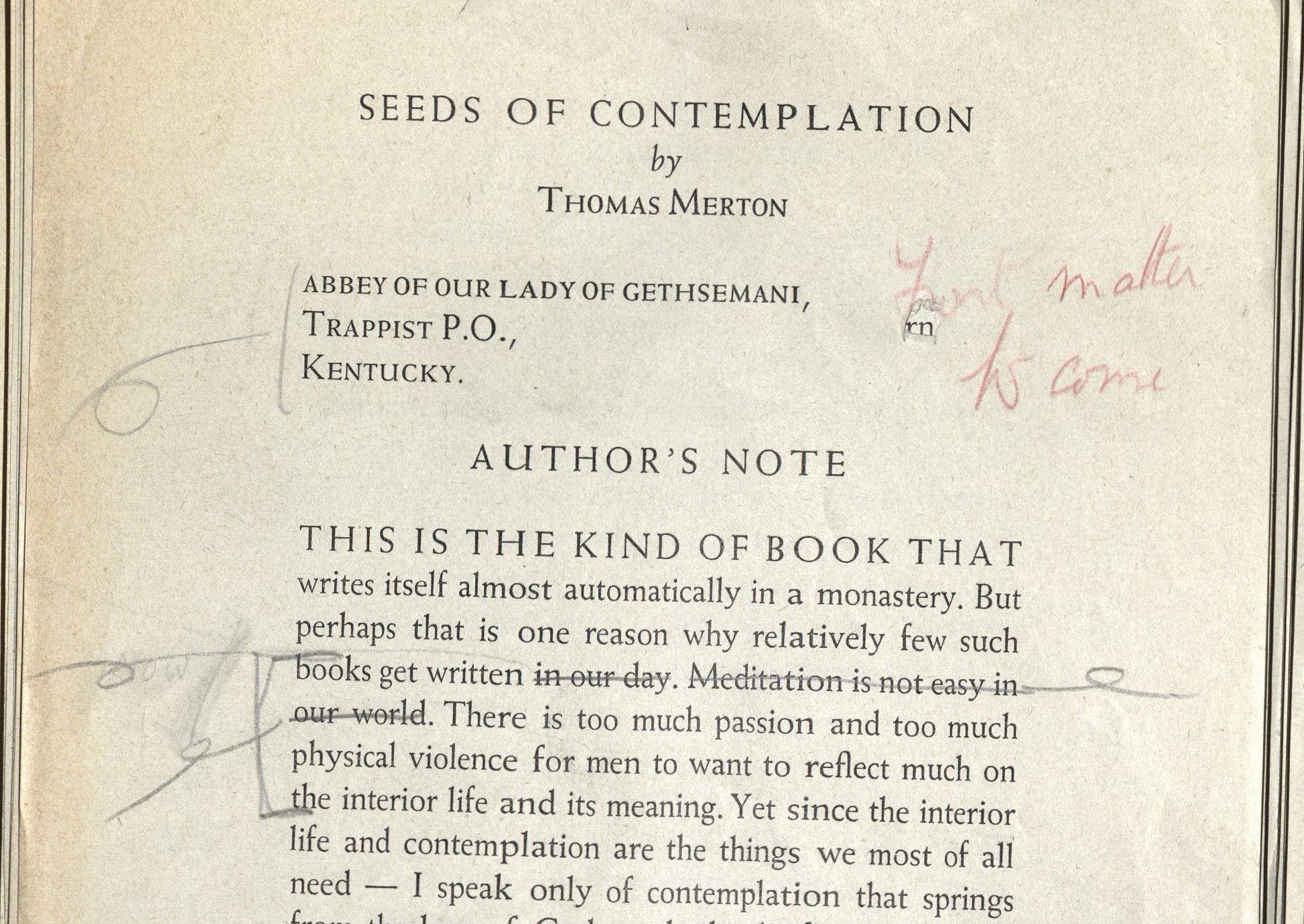 Image of galley proof for Seeds of Contemplation with author's annotations.