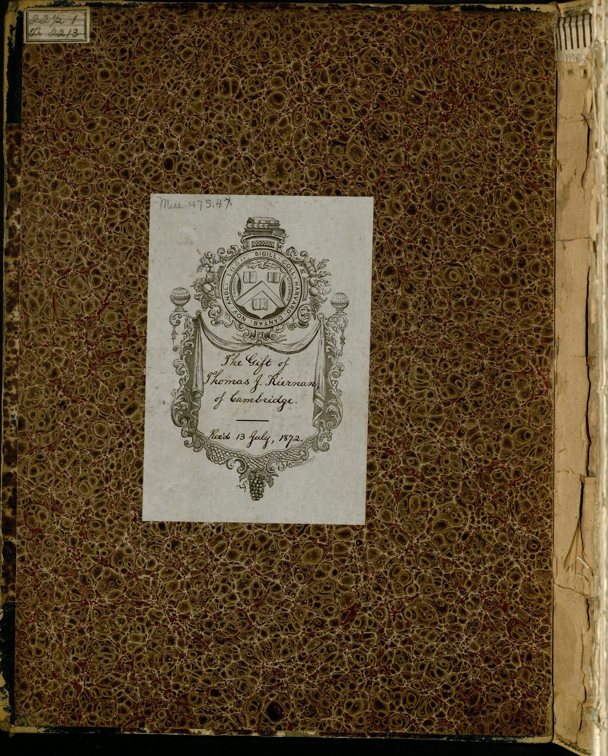 Inside front cover of the Thomas J. Kiernan volume of American vocal music, circa 1843-1871 (Tawa 8)