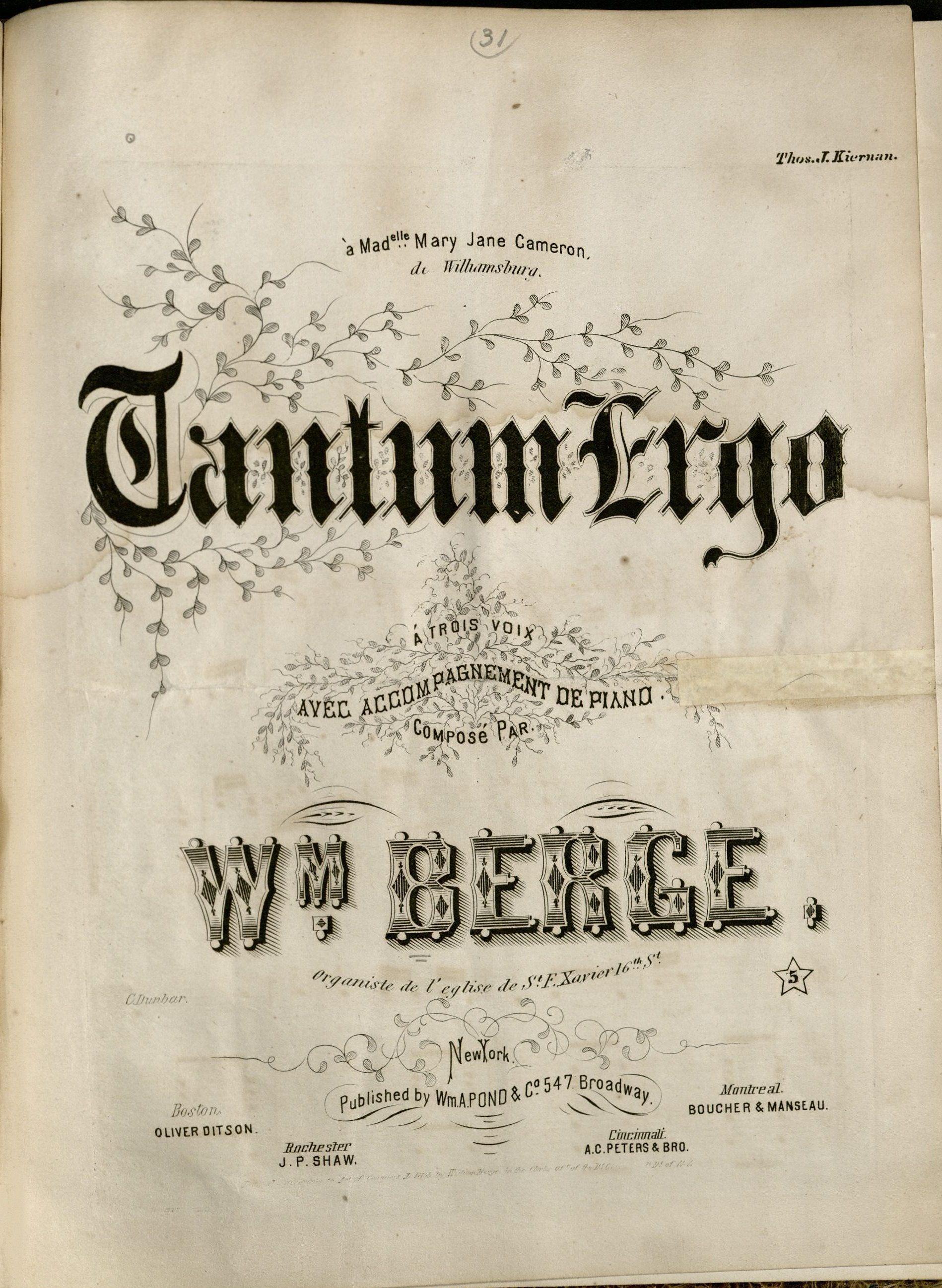 """""""Tantum ergo ; á trois voix avec accompagnement de piano,"""" by Wm. Berge, c1855"""