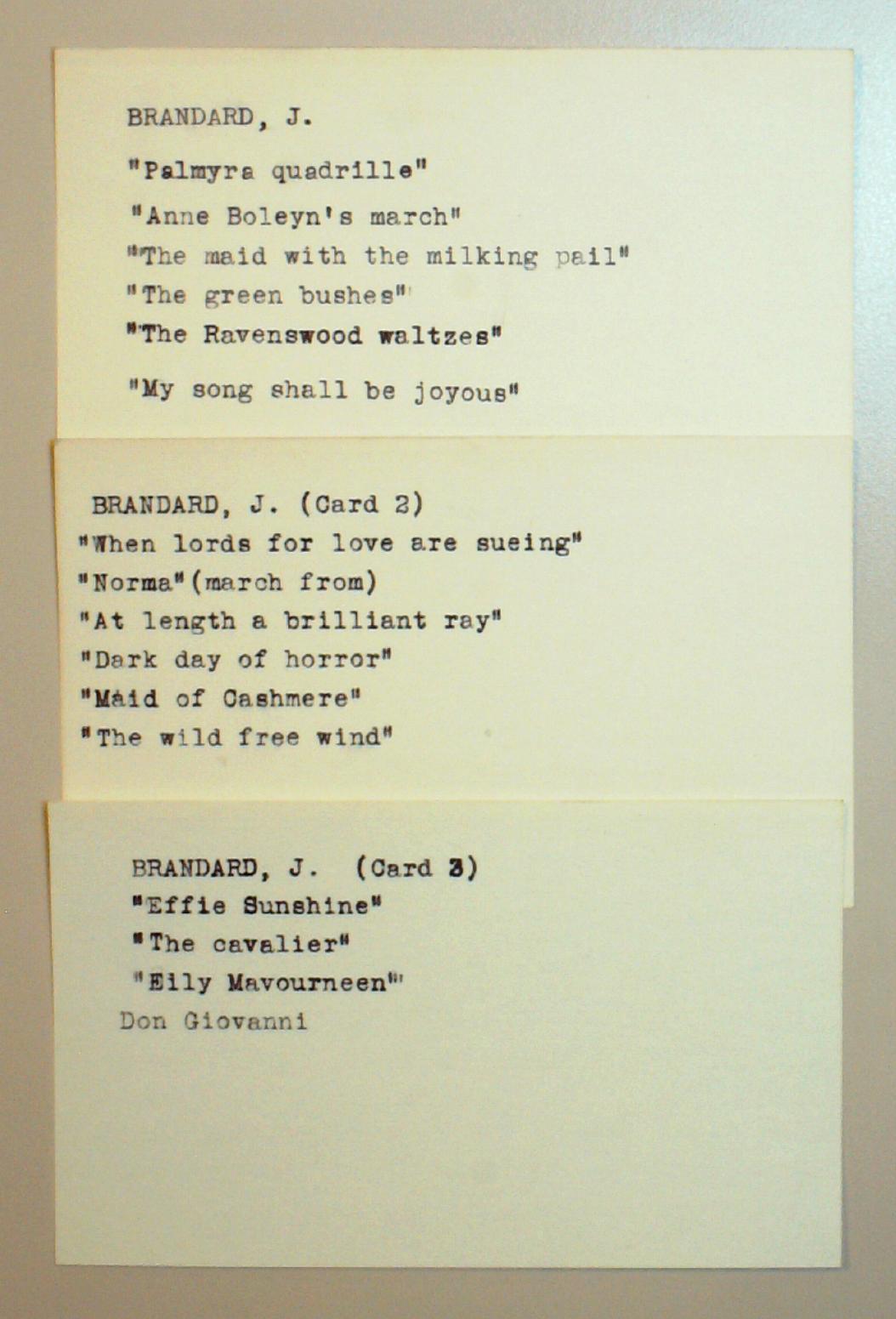 """""""Artist"""" cards for John Brandard"""