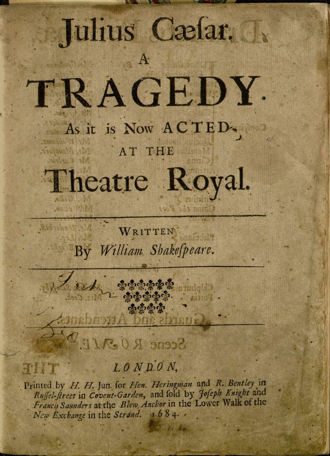Julius Caesar, 1st edition