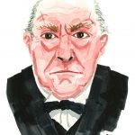 Watercolor of Winston Churchill in The Crown by John Lithgow