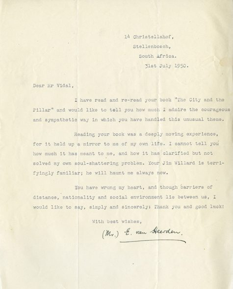 Fan letter to Gore Vidal, dated 31st July, 1950