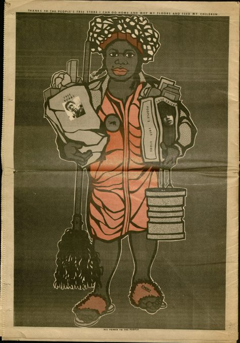 Image of African American woman with bags from the People's Free Store.