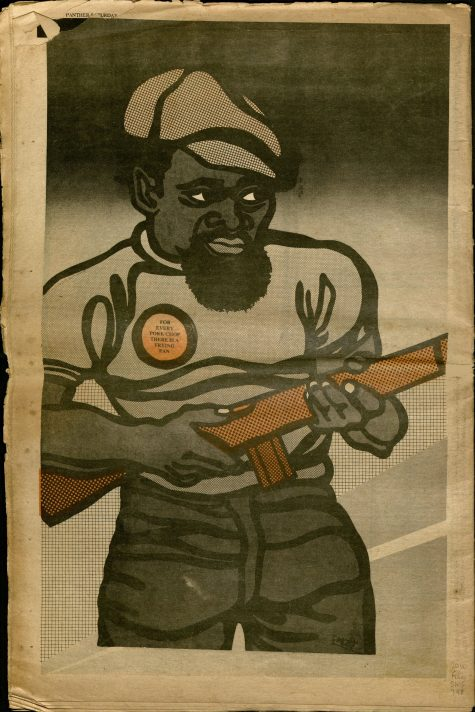 Image of armed African American man with pin reading FOR EVERY PORK CHOP THERE IS A FRYING PAN