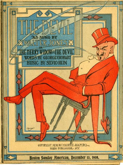 "Cover of ""The Devil As Sung By Walter Jones"", with image of devil leaning back in tilted chair in red top hat, coat, and tails."