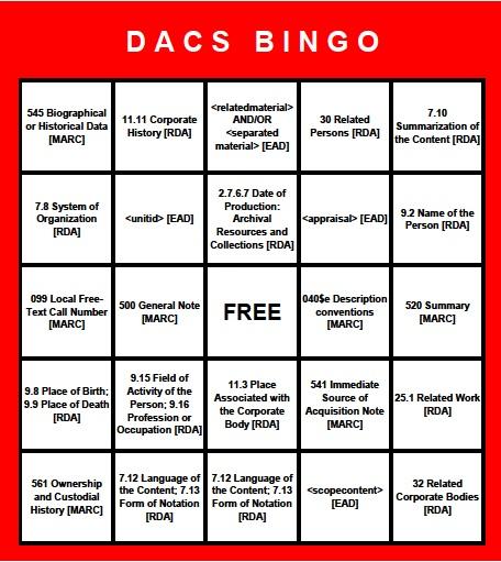 Exceptional DACS Bingo