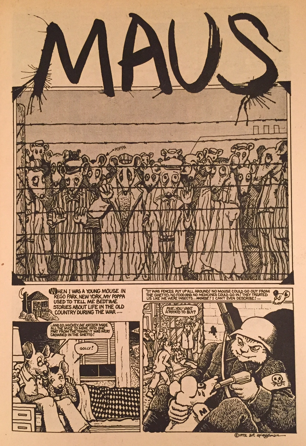 a summary of maus a graphic novel by american cartoonist art spiegelman