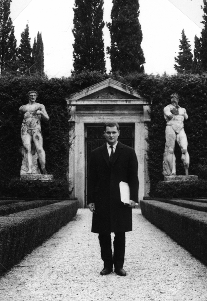 John Ashbery in Rome at the Villa Madama.