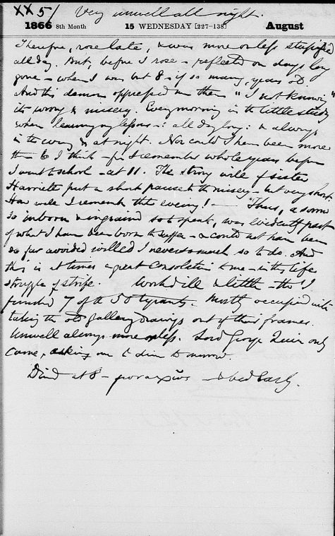 Lear's diary entry for August 15, 1866