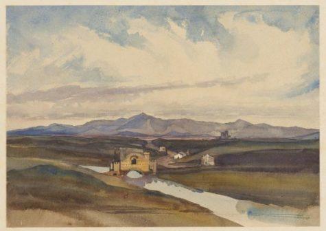 Near Tivoli: Ponte Nomentano, 1842? Houghton Library, MS Typ 55.26 (229)