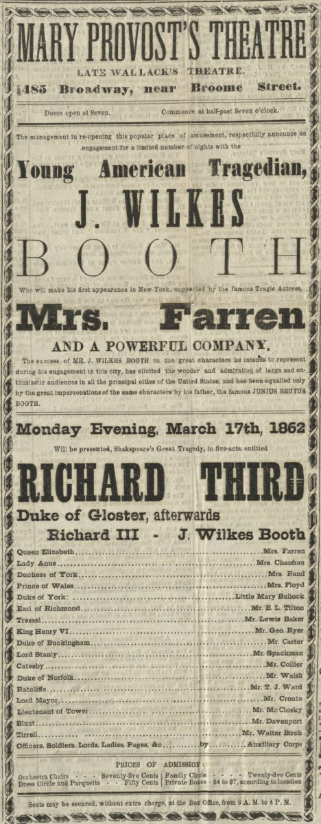 Provost's Theatre playbill for Richard III