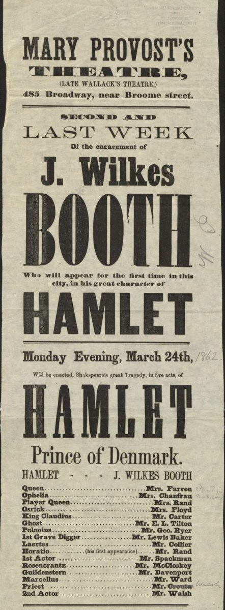 Playbill for Provost's Theatre's Hamlet.