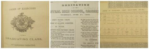 Records from Cambridge High School, ca. 1848, including a class schedule and a dedication of the building.