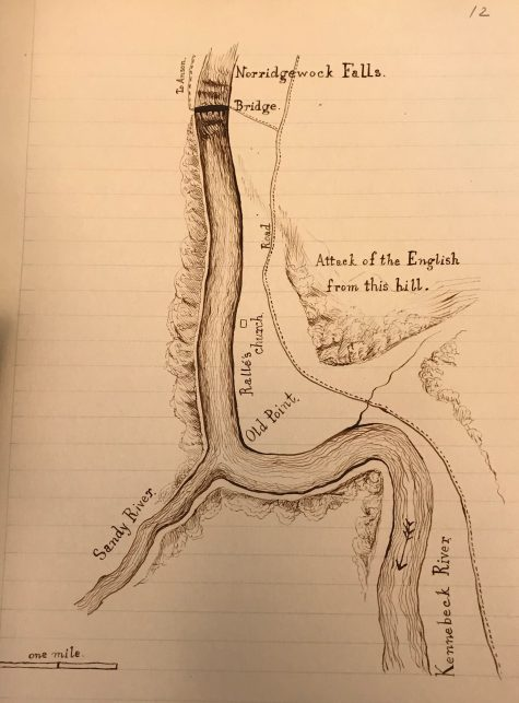 "A hand-drawn map by Sparks depicts Norridgewock Falls and the Sandy and Kennebeck Rivers, as well as a point labeled ""Attack of the English from this hill."""