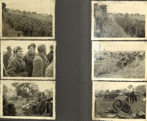 Photographs of German soldiers in the field, destroyed vehicles, and other wreckage.