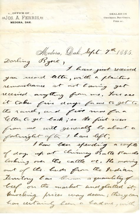 A letter sent from Theodore Roosevelt to his sister Anna, from Medora Dakota, September 7, 1885.