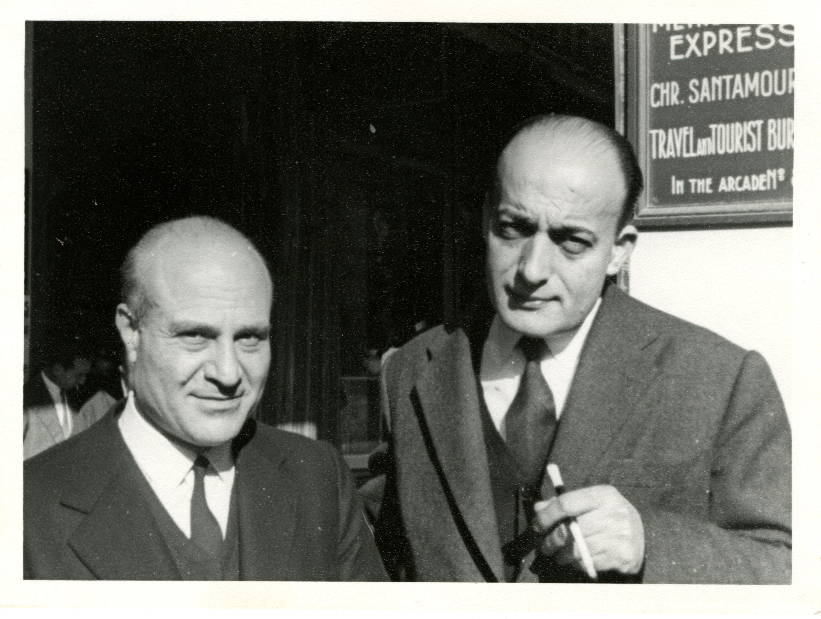 "Gatsos on right with his ""brother"" in poetry, Nobel laureate Odysseas Elytis (ca.1963)"