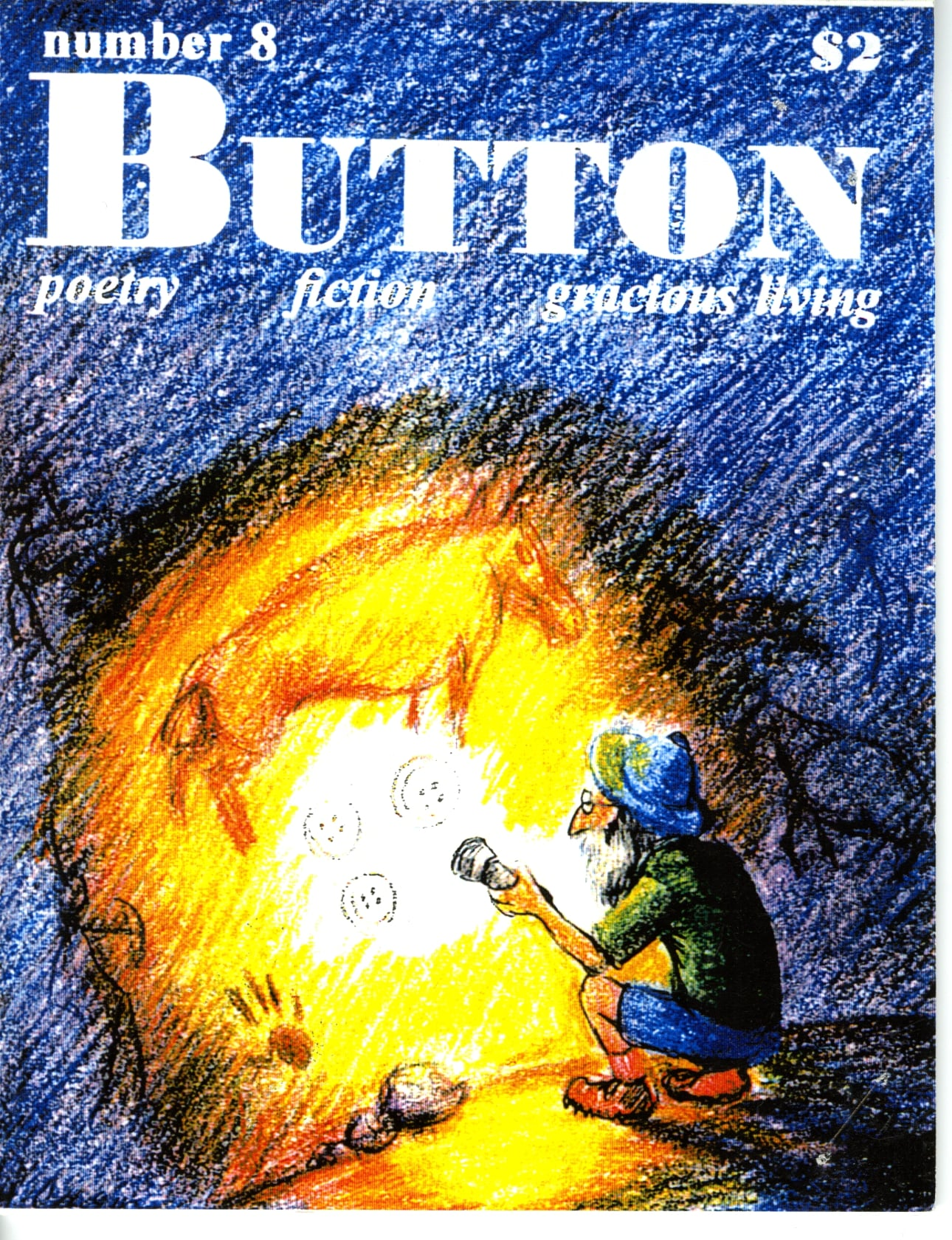 The cover of Button, issue #8, with a drawing of a cave painting, compared by the editor to a diary.