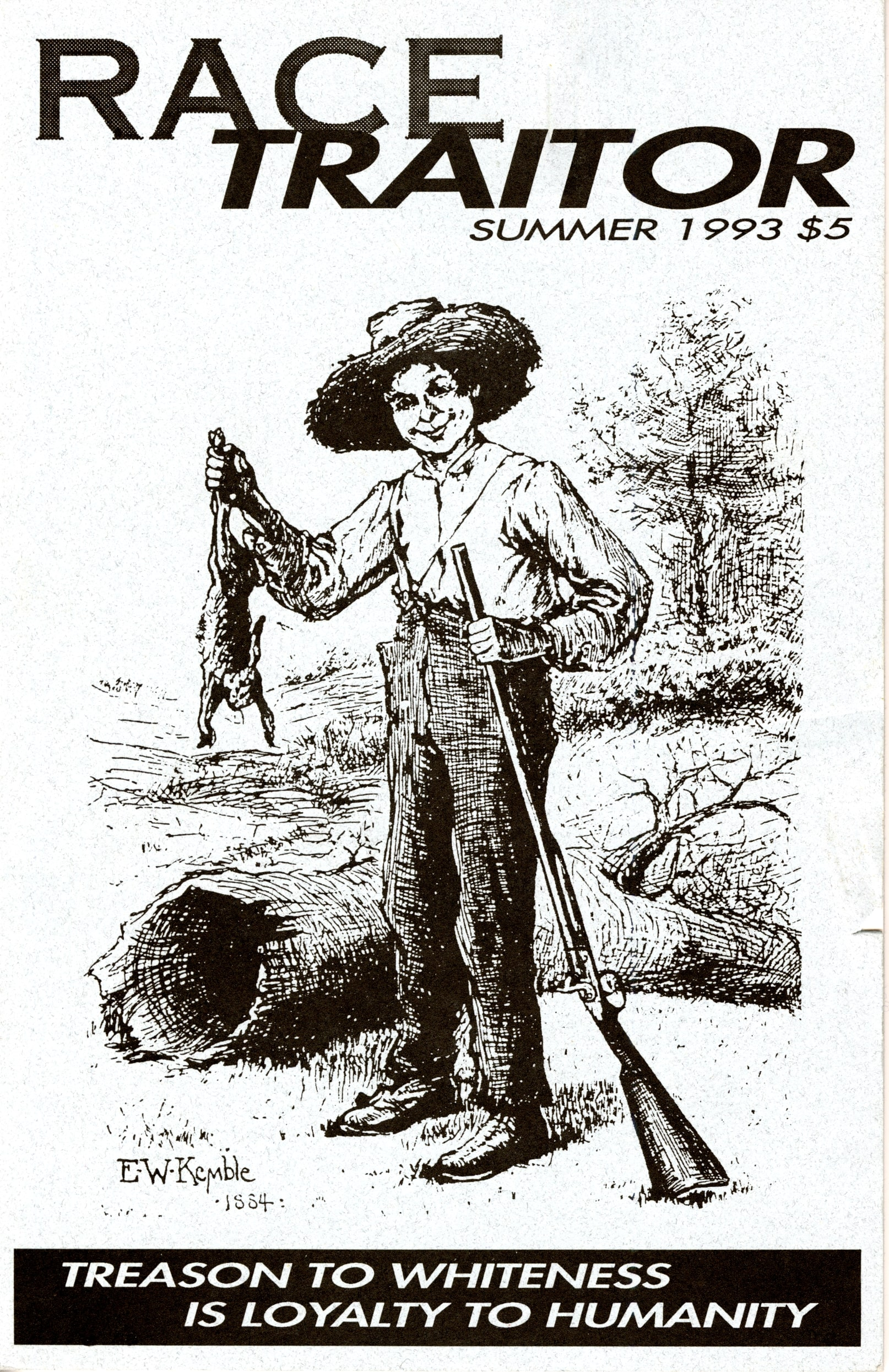 The cover of Race Traitor, featuring E. W. Kemble's 1884 illustration the frontispiece of the 1885 American 1st edition of The Adventures of Huckleberry Finn