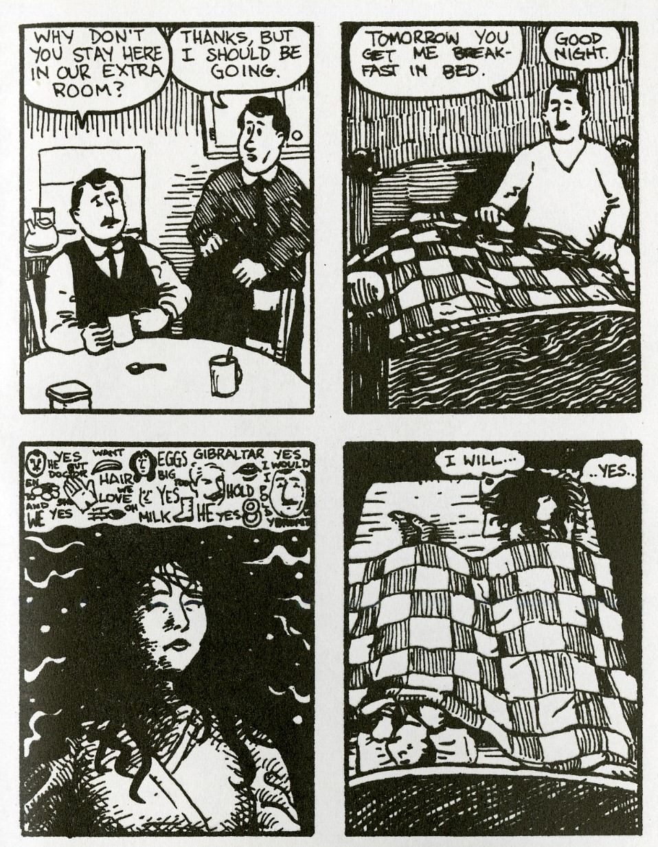 The last page of David Lasky's comic adaptation of Ulysses, concluding, as the novel does, with Molly's inner-monologue