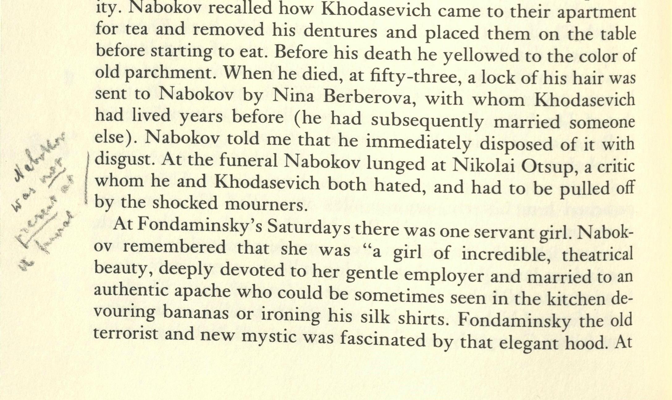 Vera disputes Nabokov's presence at a funeral.