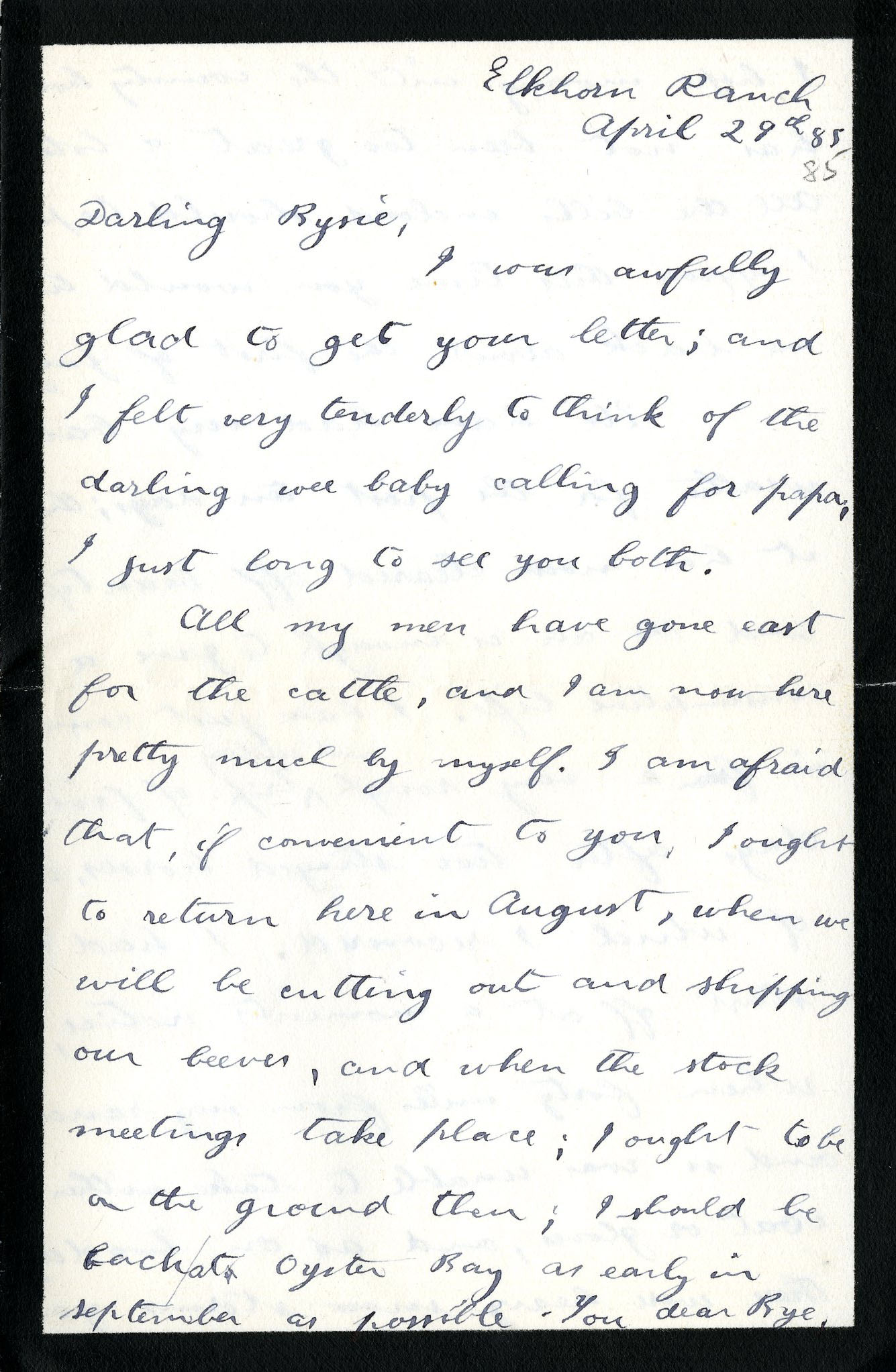 R letter to Anna Roosevelt Cowles; Elkhorn Ranch, April 29, 1885