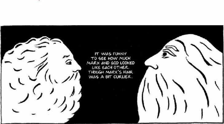 Cartoon comparing the similar side profiles of God and Karl Marx, from the graphic novel Persepolis