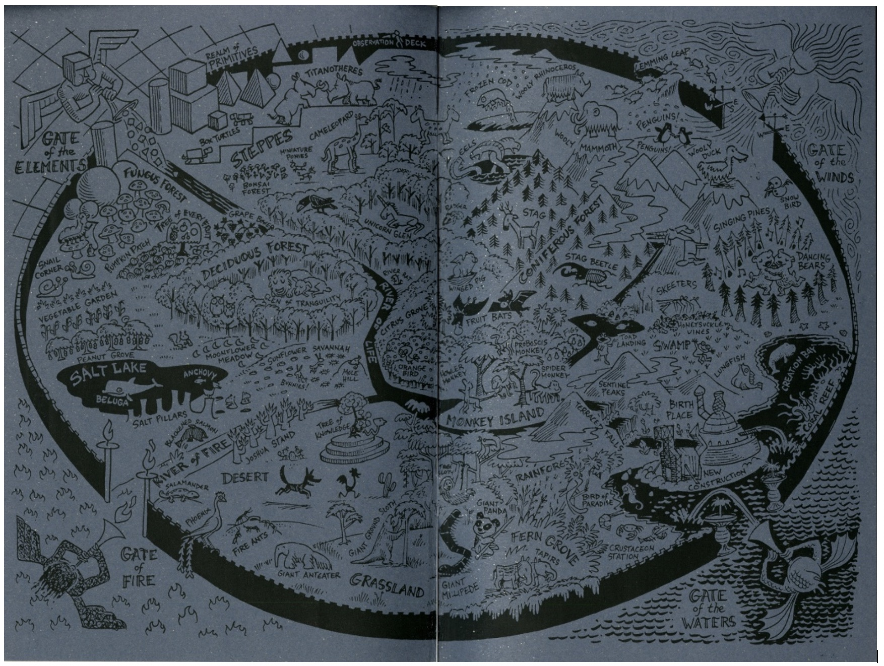 Illustrated cartoon map of the Garden of Eden with four gates, from the inside covers of the zine Monday