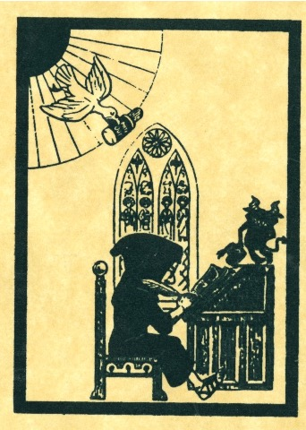 Drawing of a medieval scribe showing a dove coming down from heaven while a devil is standing on his desk, from the back cover of the zine Monday