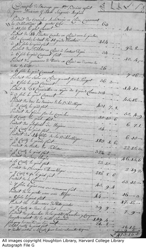 Edward Gibbon Bocion Receipt