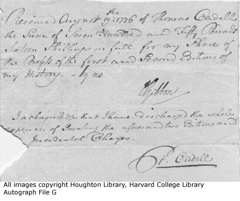 Edward Gibbon Decline and Fall receipt