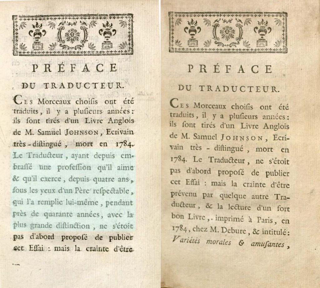 Morceaux choisis du Rambler, 1785. 2003J-SJ151 and EC75.J6371.Eh785b