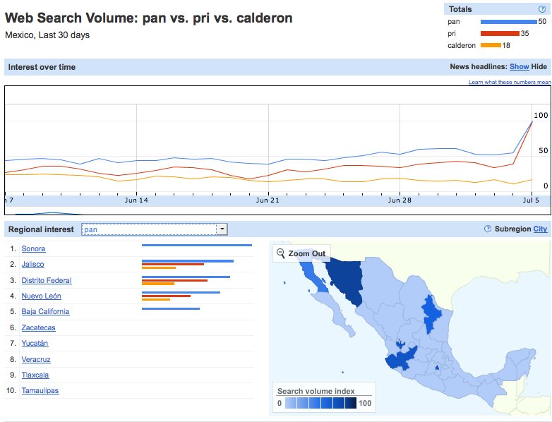 "Geographic Distibution of Relative Google Search on ""PAN"""
