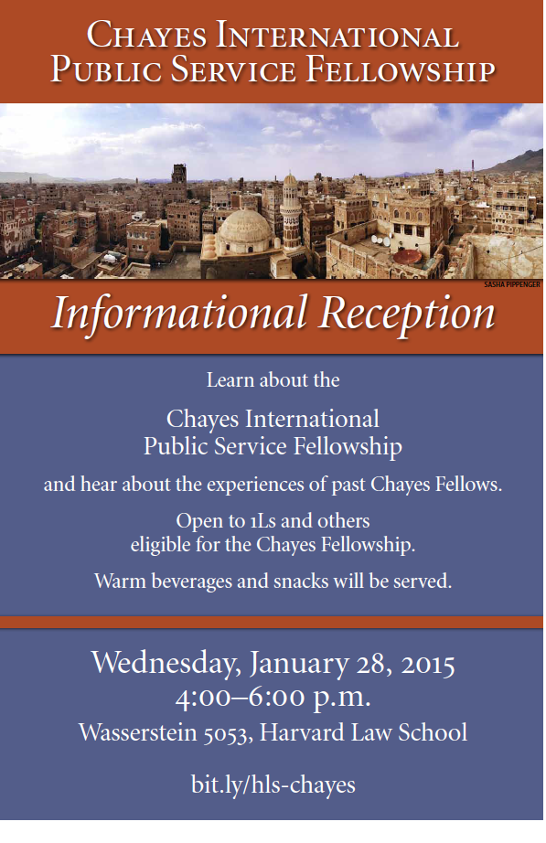 Chayes Fellowship Informational Reception January 28 4-6 pm