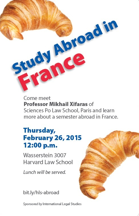 Study abroad in France: Information Session on Thursday, February 26, 12 pm, Wasserstein 3007