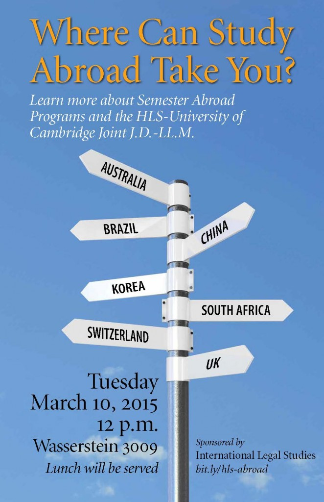 Semester Abroad Information Session: Tuesday, March 10, 2015, 12 pm. WCC 2003.