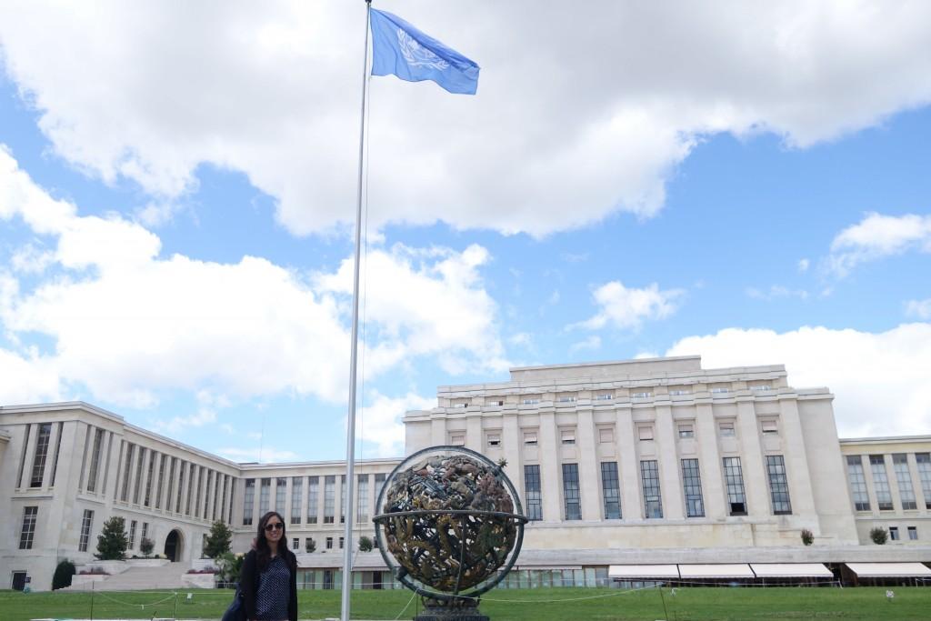 Marissa Yu '17 at the Palais des Nations, the UN's Geneva headquarters.