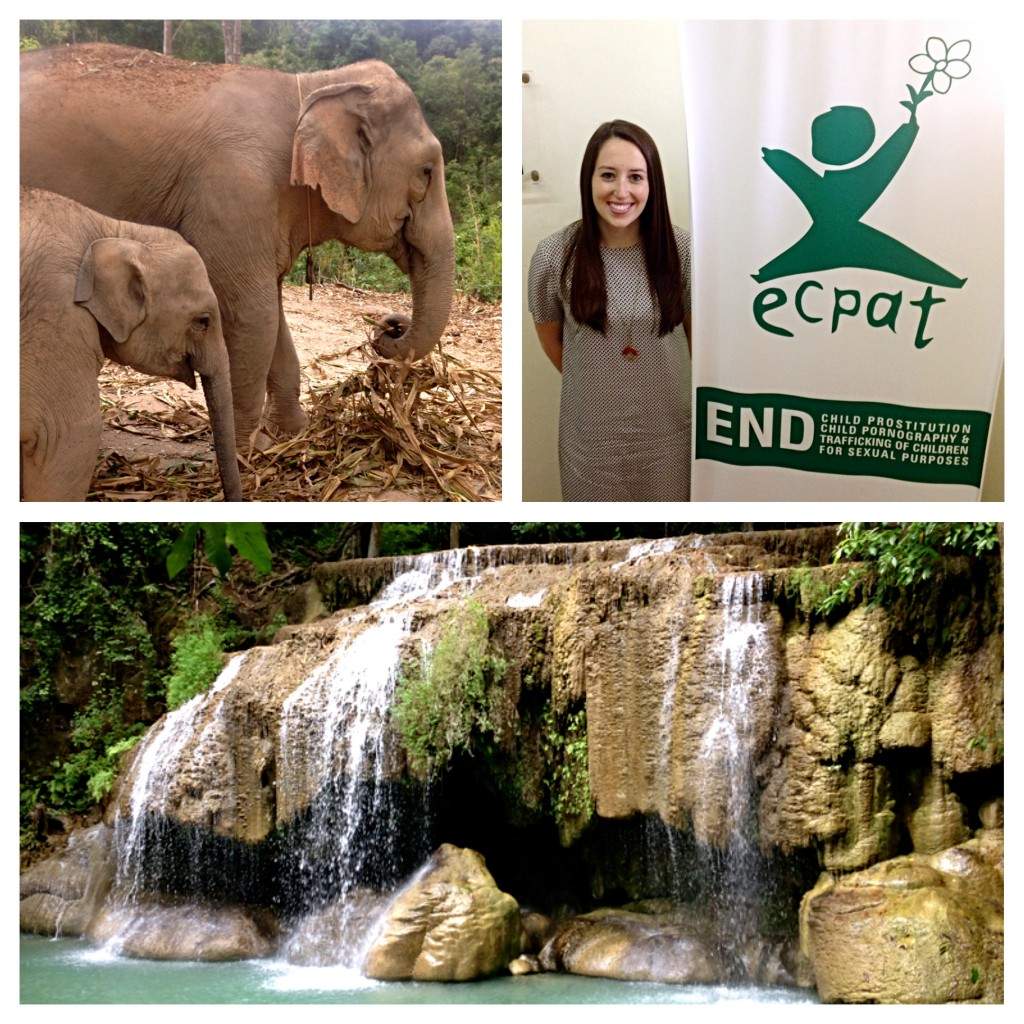 Elephants in Chiang Mai; Lauren Blodgett '16 at work; Erawan Falls. Photos courtesy of Lauren Blodgett.
