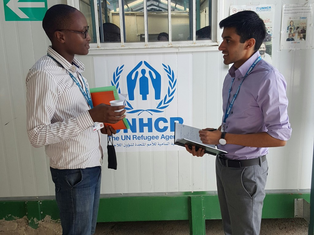 Malik Ladhani '18 at the UNHCR offices in Amman.