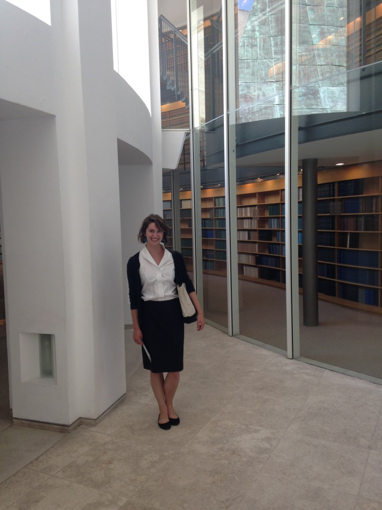 Katie Braun '17 at the Supreme Court in Jerusalem.