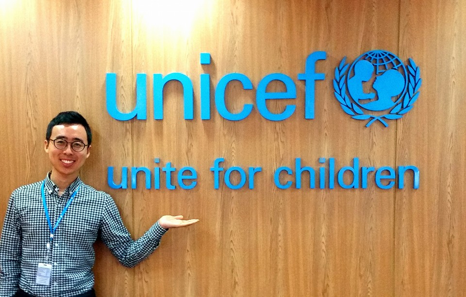 Michael Jung '18 at UNICEF offices in Bangkok