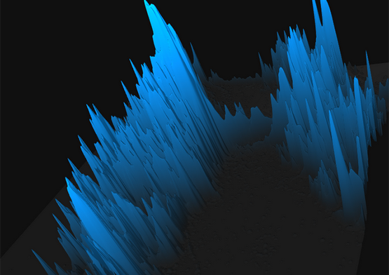 Spikes of tweets tower over New York.