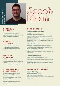 Jacob Khan infographic resume Harvard