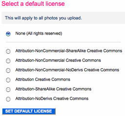 Flickr default license selection screen