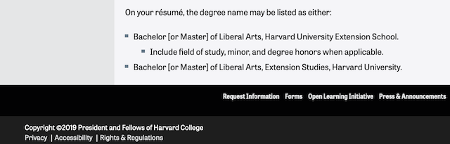Harvard Extension School diploma listing