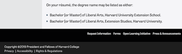 Harvard Extension School resume listing May 2019