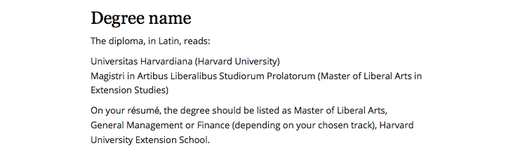 Harvard Extension School ALM Management resume guidelines