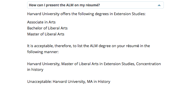 Harvard Extension School Resume Guidelines
